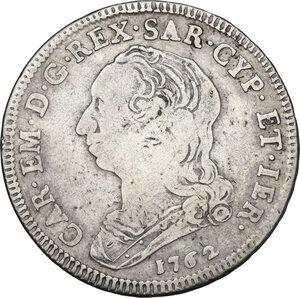 obverse: Carlo Emanuele III (1730-1773).Quarto di scudo 1762