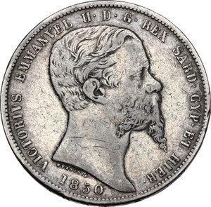 obverse: Vittorio Emanuele II (1849-1861), Re di Sardegna. 5 Lire 1850 Genova