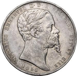 obverse: Vittorio Emanuele II (1849-1861), Re di Sardegna. 5 lire 1858 Torino