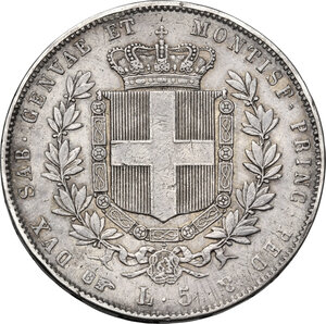reverse: Vittorio Emanuele II (1849-1861), Re di Sardegna. 5 lire 1858 Torino