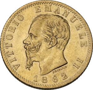 obverse: Vittorio Emanuele II (1861-1878). 20 Lire 1862 Torino