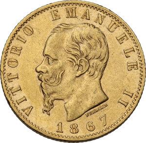 obverse: Vittorio Emanuele II (1861-1878). 20 Lire 1867 Torino