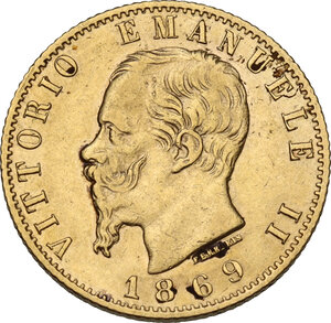 obverse: Vittorio Emanuele II (1861-1878). 20 Lire 1869 Torino