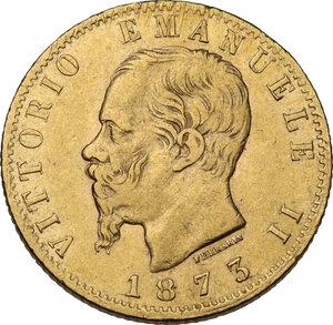 obverse: Vittorio Emanuele II (1861-1878). 20 Lire 1873 Milano