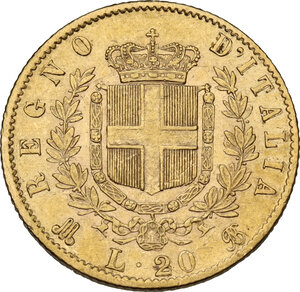 reverse: Vittorio Emanuele II (1861-1878). 20 Lire 1873 Milano