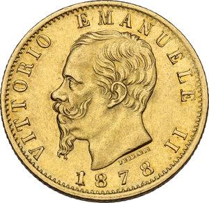obverse: Vittorio Emanuele II, Re d Italia (1861-1878).20 Lire 1878 Roma