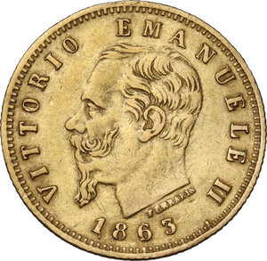 obverse: Vittorio Emanuele II (1861-1878). 5 Lire 1863 Torino