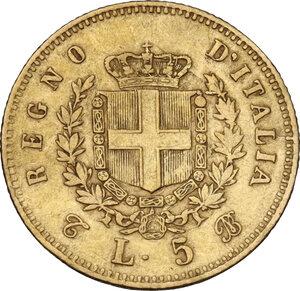reverse: Vittorio Emanuele II (1861-1878). 5 Lire 1863 Torino