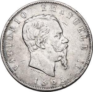 obverse: Vittorio Emanuele II (1861-1878).5 Lire 1865 Napoli