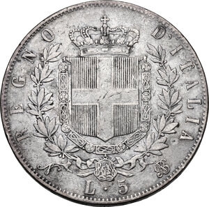 reverse: Vittorio Emanuele II (1861-1878).5 Lire 1865 Napoli