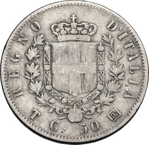reverse: Vittorio Emanuele II (1861-1878).50 centesimi 1863 Torino
