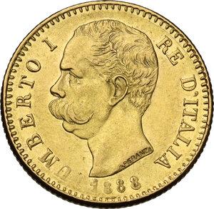 obverse: Umberto I (1878-1900).20 Lire 1888