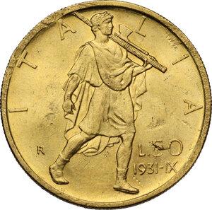 reverse: Vittorio Emanuele III (1900-1943). 50 Lire 1931 A. IX