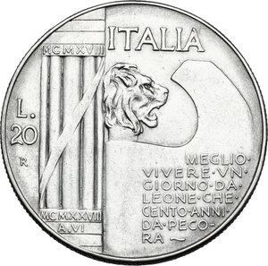 reverse: Vittorio Emanuele III (1900-1943). 20 lire 1928 A. VI