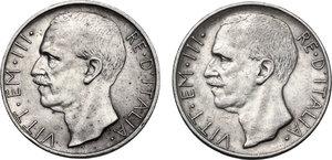 obverse: Vittorio Emanuele III (1900-1943). Lotto di due (2) monete: 10 lire 1927 con una e due rosette