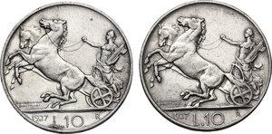 reverse: Vittorio Emanuele III (1900-1943). Lotto di due (2) monete: 10 lire 1927 con una e due rosette