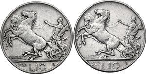 reverse: Vittorio Emanuele III (1900-1943). Lotto di due (2) monete da 10 lire: 1927 ** e 1928 *