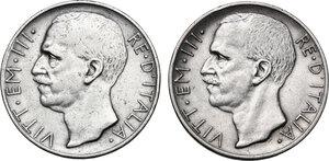 obverse: Vittorio Emanuele III (1900-1943). Lotto di due (2) monete da 10 lire: 1927 ** e 1928 *