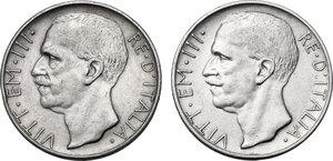 obverse: Vittorio Emanuele III (1900-1943). Lotto di due (2) monete: 10 lire 1929 una e due rosette