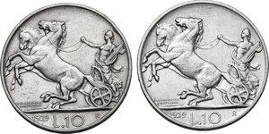 reverse: Vittorio Emanuele III (1900-1943). Lotto di due (2) monete: 10 lire 1929 una e due rosette