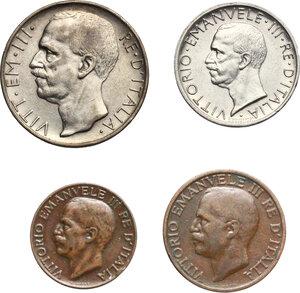 obverse: Vittorio Emanuele III (1900-1943). Lotto di quattro (4) monete 1930: 10, 5 lire, 10, 5 centesimi