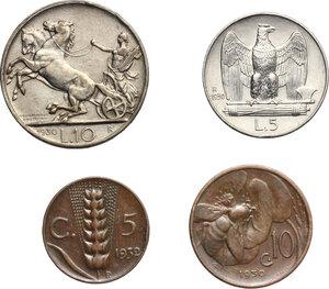reverse: Vittorio Emanuele III (1900-1943). Lotto di quattro (4) monete 1930: 10, 5 lire, 10, 5 centesimi