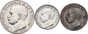 obverse: Vittorio Emanuele III (1900-1943). Lotto di tre (3) monete: 5 lire, 2 lire e 10 centesimi 1911
