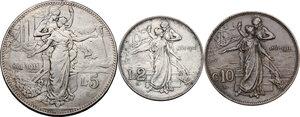 reverse: Vittorio Emanuele III (1900-1943). Lotto di tre (3) monete: 5 lire, 2 lire e 10 centesimi 1911