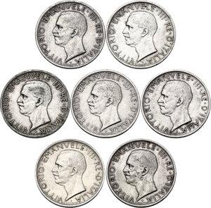 obverse: Vittorio Emanuele III (1900-1943). Lotto di sette (7) monete da 5 lire: 1926, 1927 *, 1927 **, 1928 *, 1929 *, 1929 **, 1930