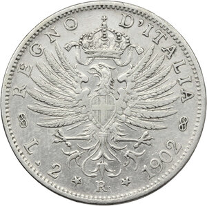 reverse: Vittorio Emanuele III (1900-1943). 2 lire 1902
