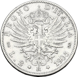reverse: Vittorio Emanuele III (1900-1943). 2 lire 1905