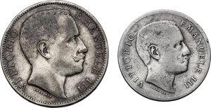 obverse: Vittorio Emanuele III (1900-1943). Lotto di due (2) monete: 2 e 1 lire 1906