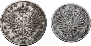 reverse: Vittorio Emanuele III (1900-1943). Lotto di due (2) monete: 2 e 1 lire 1906