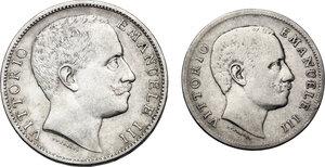 obverse: Vittorio Emanuele III (1900-1943). Lotto di due (2) monete 1907: 2 lire e 1 lira