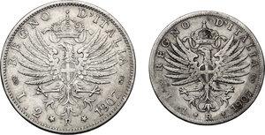 reverse: Vittorio Emanuele III (1900-1943). Lotto di due (2) monete 1907: 2 lire e 1 lira