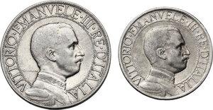 obverse: Vittorio Emanuele III (1900-1943). Lotto di due (2) monete 1908: 2 lire e 1 lira