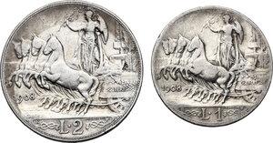 reverse: Vittorio Emanuele III (1900-1943). Lotto di due (2) monete 1908: 2 lire e 1 lira