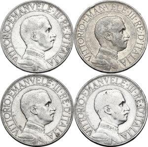 obverse: Vittorio Emanuele III (1900-1943). Serie di quattro (4) monete da 2 lire: 1908, 1910, 1911, 1912