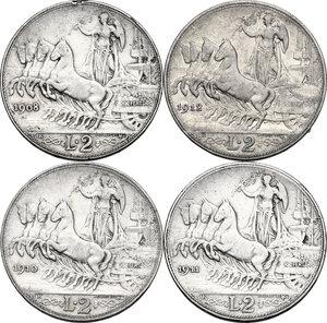 reverse: Vittorio Emanuele III (1900-1943). Serie di quattro (4) monete da 2 lire: 1908, 1910, 1911, 1912