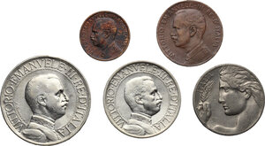 obverse: Vittorio Emanuele III (1900-1943). Serie di sei (6) monete 1910: 2, 1 lire, 20, 2, 1 centesimi