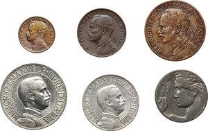 obverse: Vittorio Emanuele III (1900-1943). Serie di sei (6) monete 1912: 2, 1 lire, 20,5,2,1 centesimi