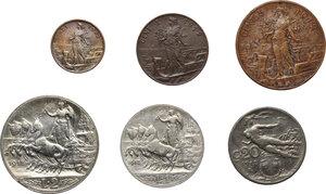 reverse: Vittorio Emanuele III (1900-1943). Serie di sei (6) monete 1912: 2, 1 lire, 20,5,2,1 centesimi