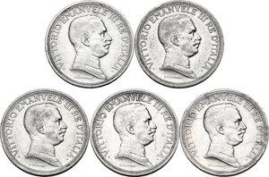 obverse: Vittorio Emanuele III (1900-1943). Serie di quattro (4) monete da 2 lire: 1914, 1925, 1916, 1917. In aggiunta 2 lire 1916