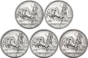 reverse: Vittorio Emanuele III (1900-1943). Serie di quattro (4) monete da 2 lire: 1914, 1925, 1916, 1917. In aggiunta 2 lire 1916