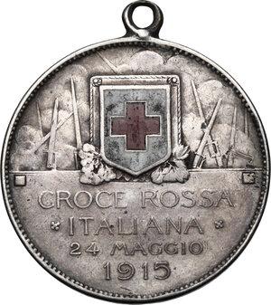 reverse: Vittorio Emanuele III (1900-1943).2 lire Croce Rossa Italiana 1915