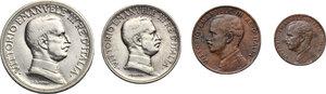 obverse: Vittorio Emanuele III (1900-1943). Serie di quattro (4) monete 1916: 2,1 lire, 2,1 centesimi