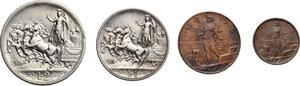 reverse: Vittorio Emanuele III (1900-1943). Serie di quattro (4) monete 1916: 2,1 lire, 2,1 centesimi