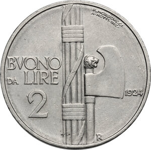 reverse: Vittorio Emanuele III (1900-1943). Buono da 2 lire 1924