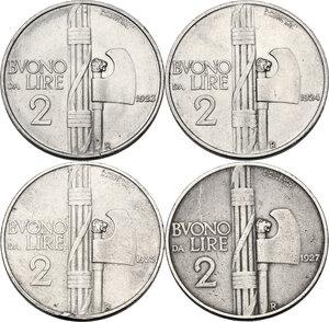 reverse: Vittorio Emanuele III (1900-1943). Lotto di quattro (4) buoni da 2 lire: 1923, 1924, 1925, 1927