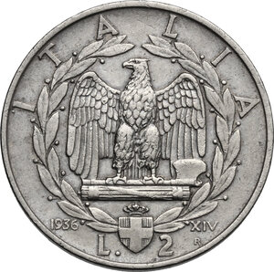 reverse: Vittorio Emanuele III (1900-1943). 2 lire 1936 A. XIV